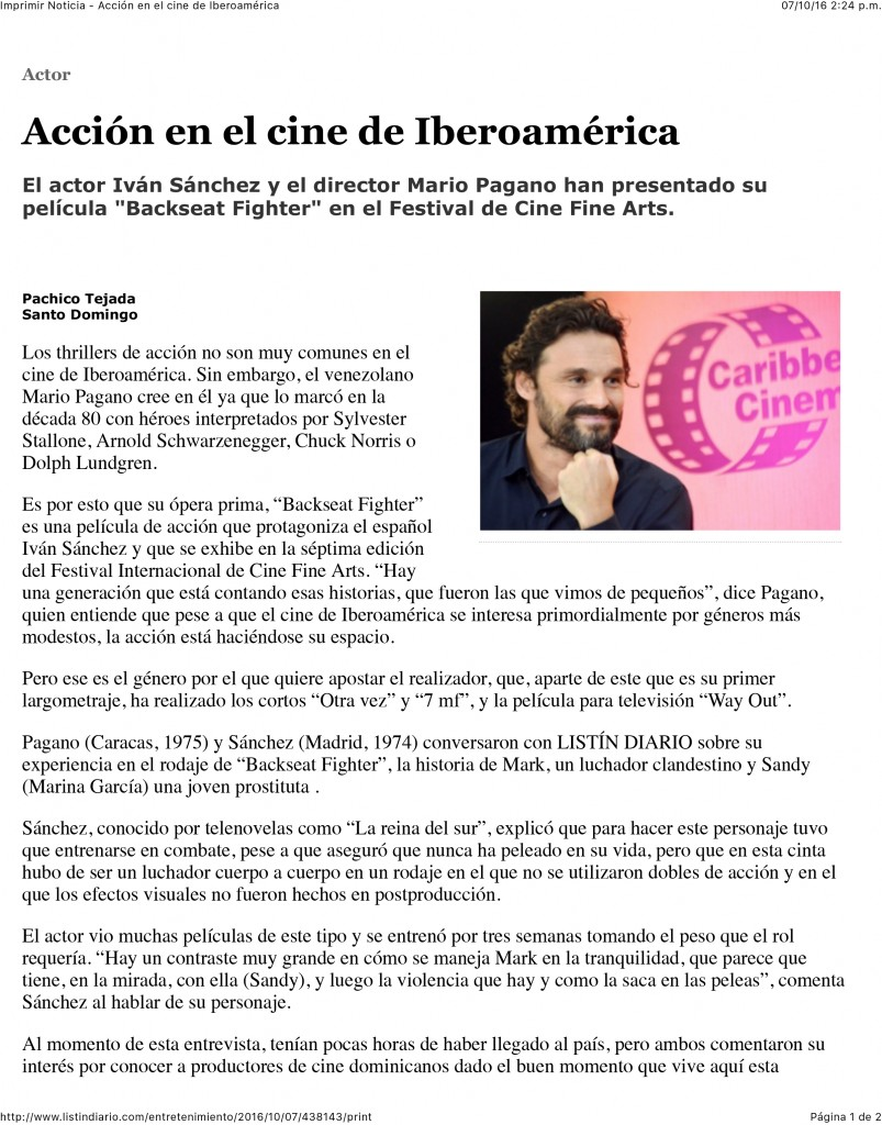 Imprimir Noticia - Acción en el cine de Iberoamérica